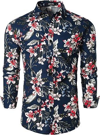 JOGAL Camisa de manga larga para hombre, diseño de flores