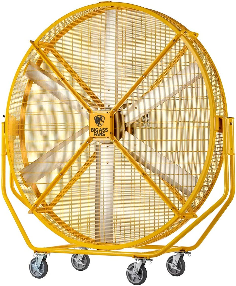 Big Ass Fans AirGo 8 Foot Indoor/Outdoor Portable Fan with Wheels, Onboard Variable Speed Control, OSHA Compliant Steel Cage, IPX5 Rated, Washdown Capable, Safety Yellow