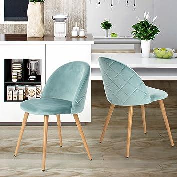 Set Von 2 Esszimmer Stuhl Kaffee Stuhl Coavas Samt Kissen Sitz Und Rücken  Küche Stühle Mit