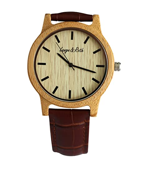 Lange & Roth Wood Watch Relojes hechos a mano Natural Madera Cuero genuino Banda de pulsera
