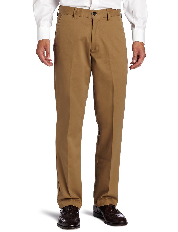 Haggar Men's Standard Khaki Plain Front Chino Casual Pant