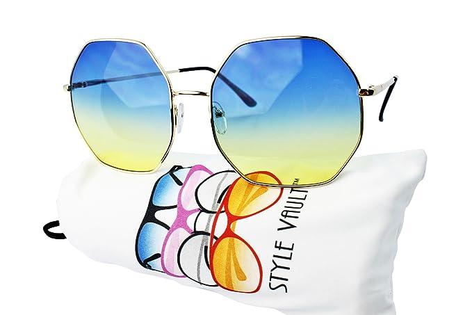 69ae39f7512 WM3098-VP Style Vault Oversize Octagon Hexagon Sunglasses (B3301F Gold-blue  yellow