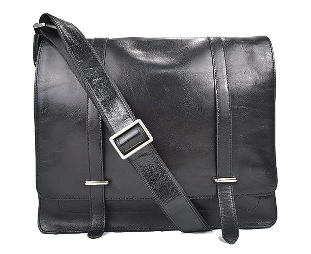Bolso messenger negro de piel bandolera de cuero bolso cartero bolso de hombre piel cartera mujer