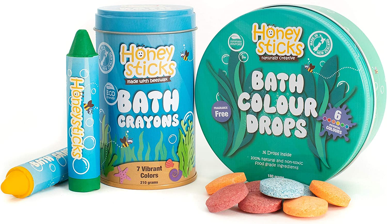 Honeysticks Bath Pack - Bath Color Tablets & Bath Crayons for Kids - Made with Natural & Food Grade Ingredients - Fragrance Free and Non Irritating - Washable & Easy Clean Up
