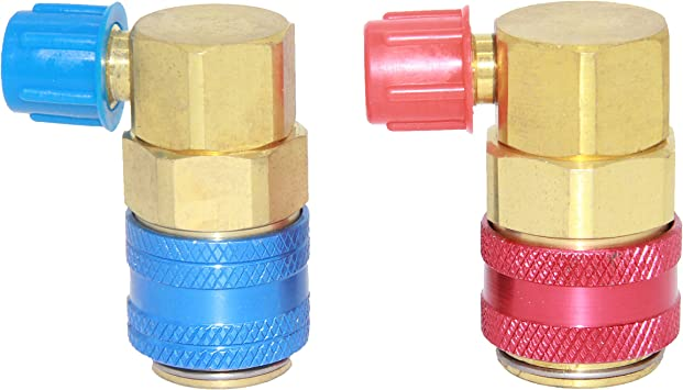 Flexzion AC R134a Quick Connectors System Port Adapters Couplers Low High Set of 2 Conversion Kit for HVAC Auto Car Air conditioning with Manifold Hose Gauge