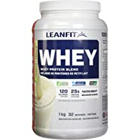 LeanFit   Canadian Whey Protein Powder   Keto Low-Carb Shake with BCAAs   Natural Vanilla, 1Kg