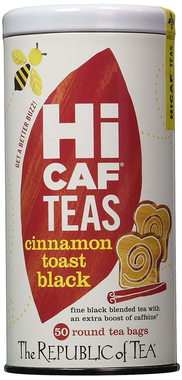 The Republic of Tea HiCAF Cinnamon Toast Black Tea, Premium Blended High-Caffeine Black Tea (50 Tea Bags)