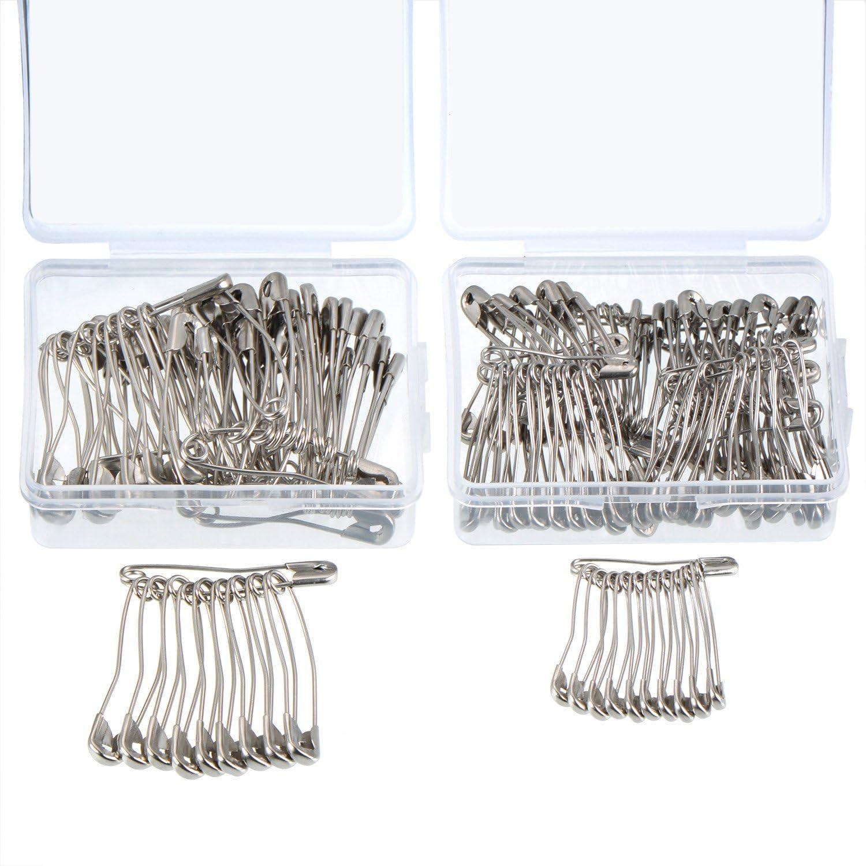 160 Piezas Imperdibles de Seguridad Curvados Alfileres de Hilvanados de Confección con Cajas de Plástico, 2 Tamaños, Acero Niquelado de Plata