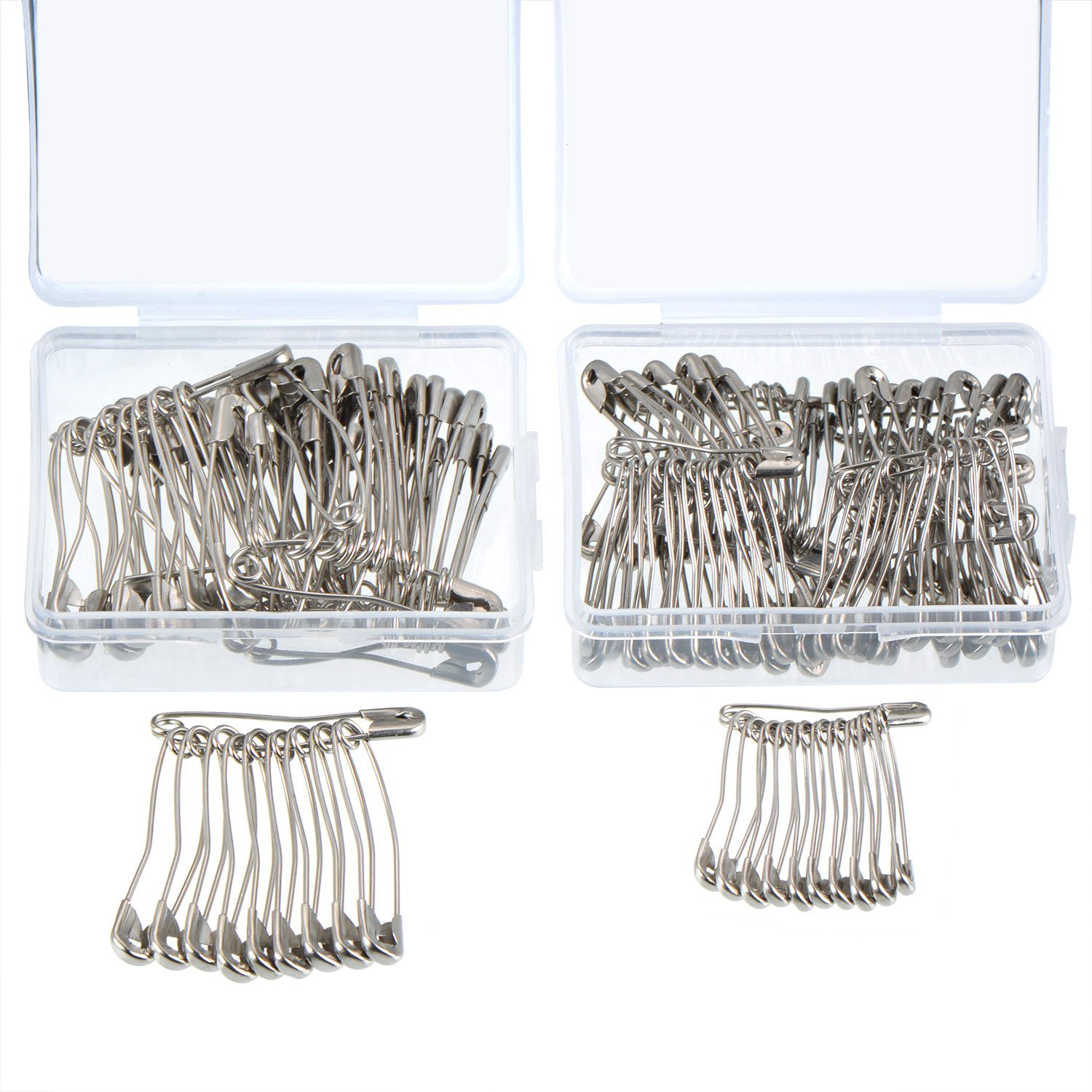 160 Pieces Curved Safety Pins Quilting Basting Pins with Plastic Cases, 2 Sizes, Nickel-plated Steel Outus 4337009932