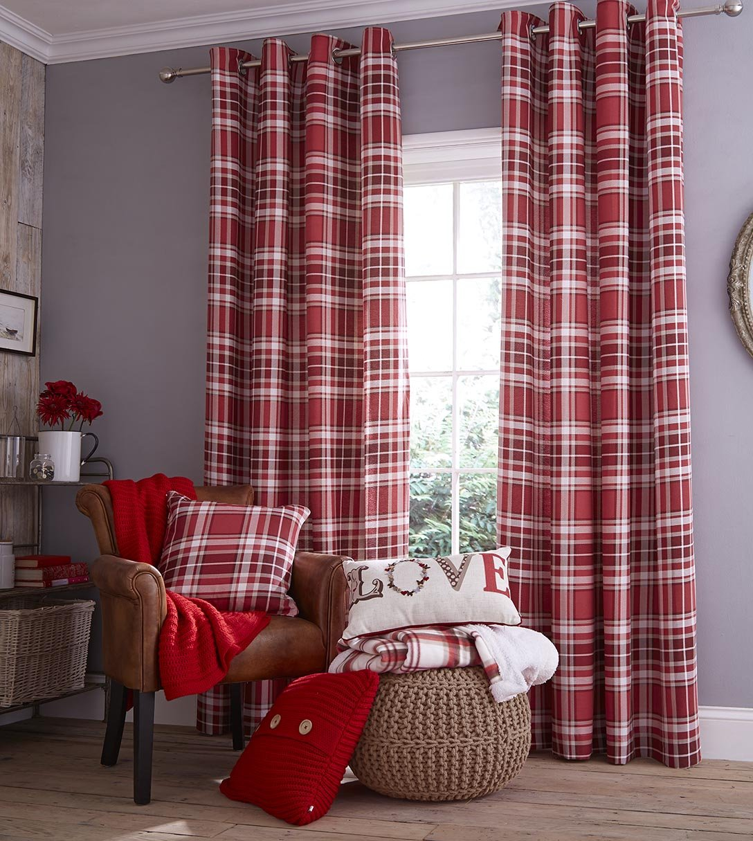 Red patterned curtains living room - Catherine Lansfield Twill Check Curtains 90x90 Red Amazoncouk Kitchen U0026 Home