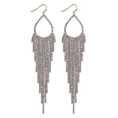 39e76321130c6 Mood Women's Rose Gold Diamante Drop Statement Earring: Amazon.co.uk ...