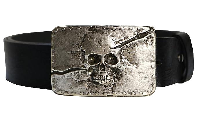 BBM-STYLE Cinturón, Skull, Calavera, Massive hebilla, piel ...