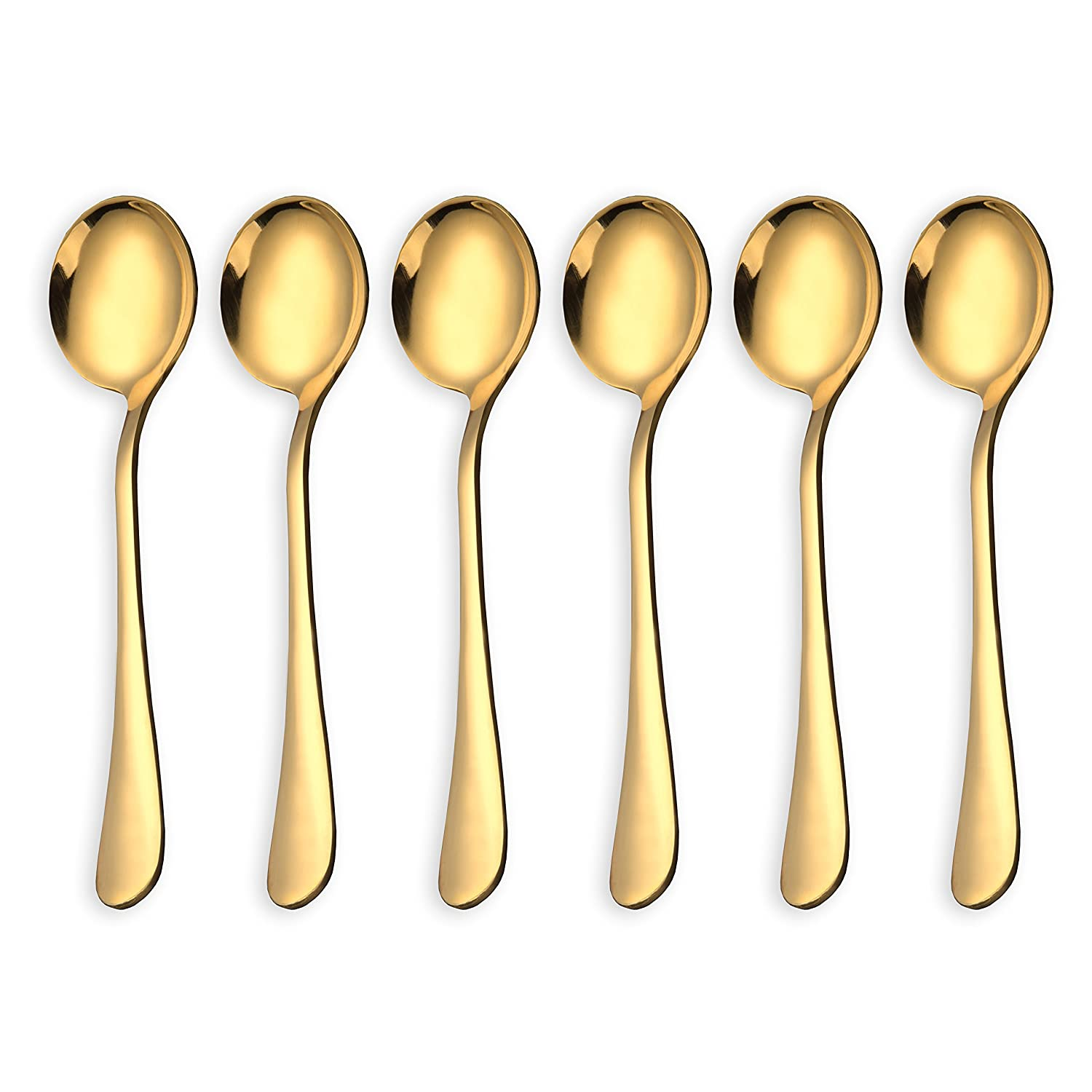 Black Soup Spoons, Stainless Steel Round Spoons, Set of 6 (7.31 inch) BERGLAND 88WSB-SS-6P