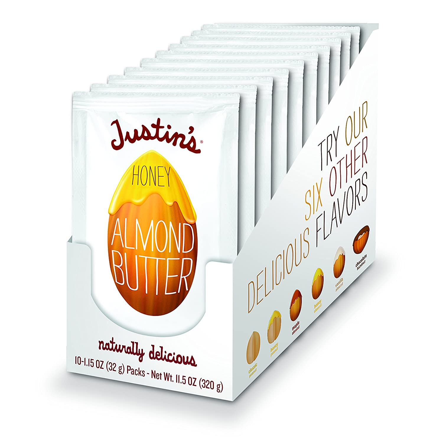 Justin's Honey Almond Butter Squeeze Packs, Gluten-free, Non-GMO, Responsibly Sourced, Pack of 10 (1.15oz each)
