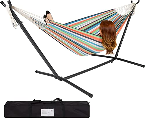 Best Choice Products 2-Person Indoor Outdoor Brazilian-Style Cotton Double Hammock Bed w Carrying Bag, Steel Stand, Rainbow Stripes