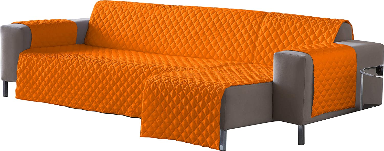 Lucena Cantos - Cubre Sofá Reversible, (Naranja/Choco, Chaise-Longue 200 cm)