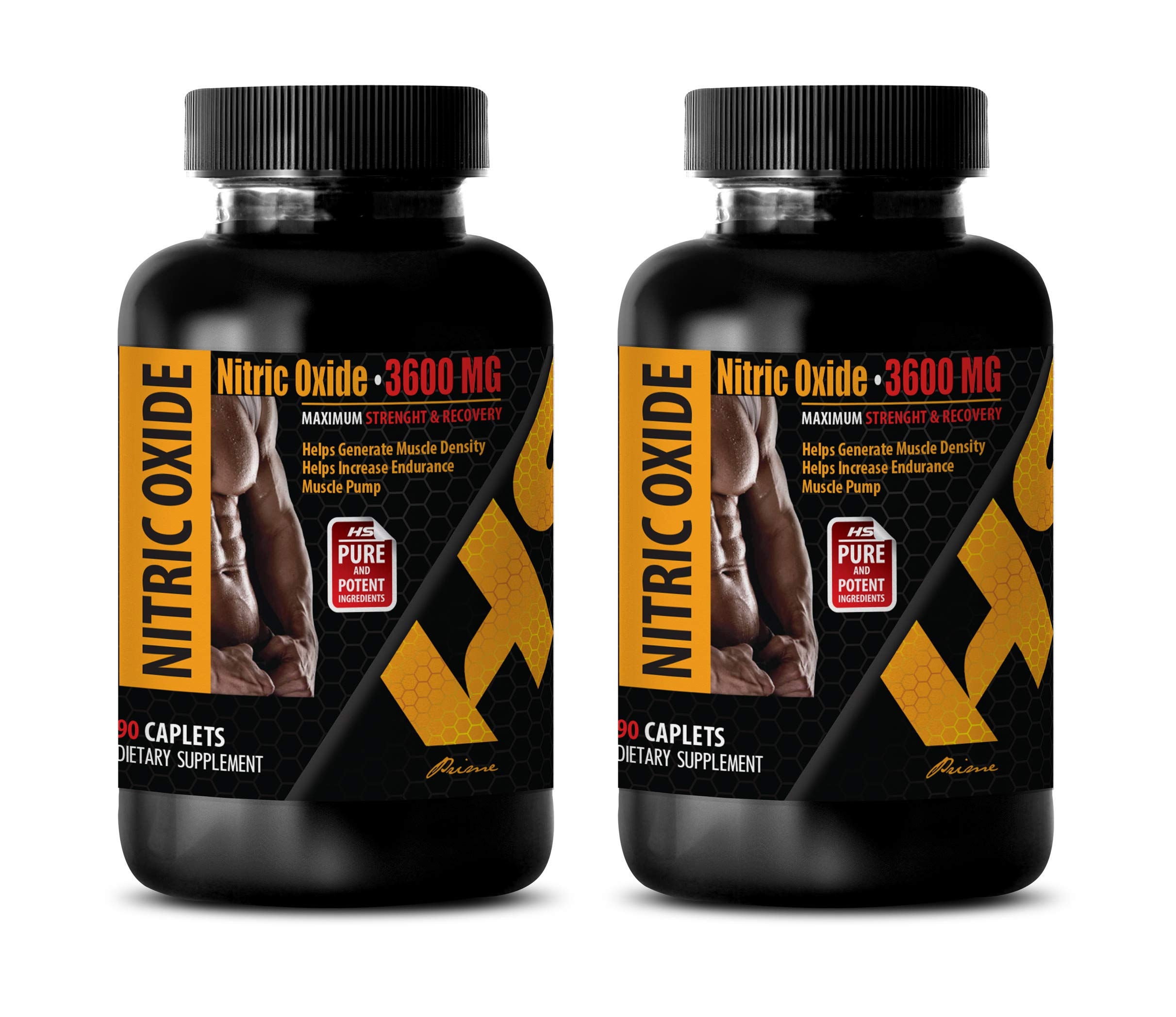 Muscle Booster Supplement - Nitric Oxide 3600 MG - Maximum Strength & Recovery - Nitric Oxide Formula - 2 Bottles 180 Caplets