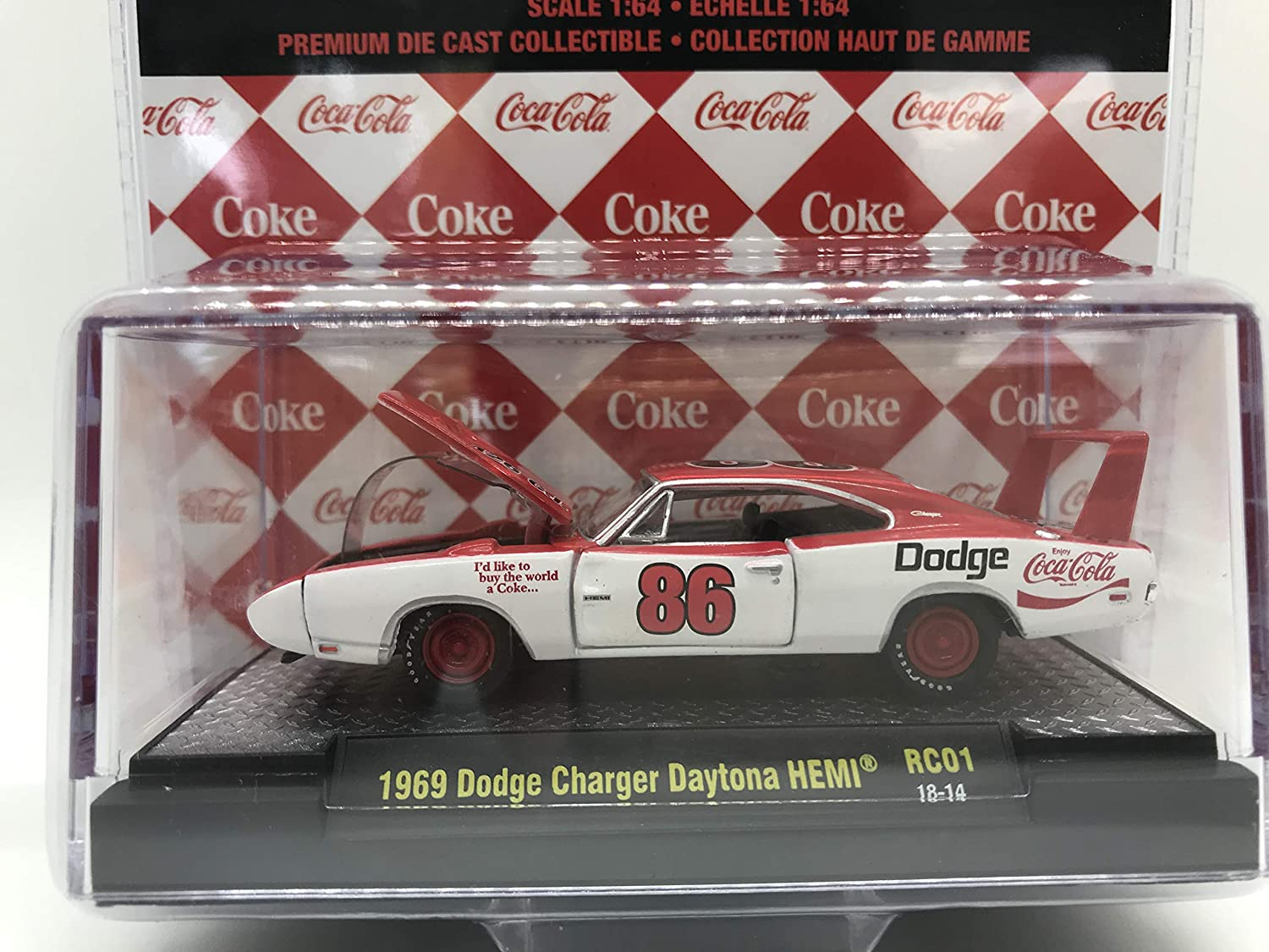 M2 Machines Coca-Cola Limited Edition 1969 Dodge Charger Daytona HEMI 1:64 Scale RC01 18-14 White//Red Details Like NO Other Over 42 Parts 1 of 4800