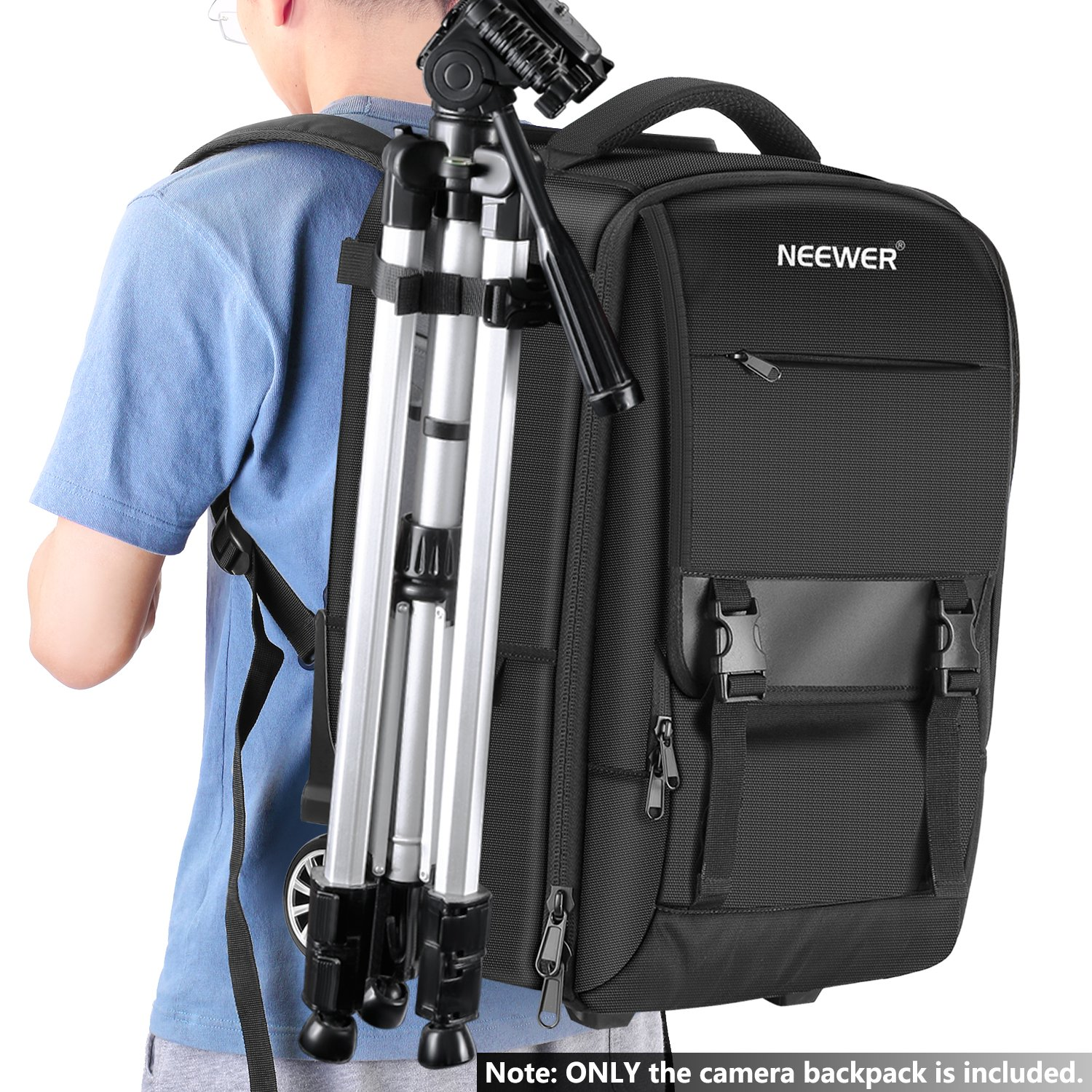 Neewer 2-in-1 Camera Backpack Luggage Trolley Case with Double Bar Lens for Air Travelling Waterproof for DSLR Cameras Anti-shock Detachable Padded Compartment Hidden Pull Bar and Strap Tripod