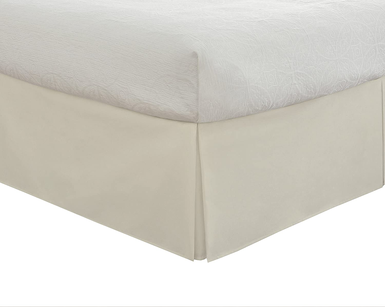 """Lux Hotel Bedding Tailored Bed Skirt, Classic 14"""" Drop Length, Pleated Styling, Twin, Ivory"""