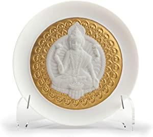 LLADRÓ Goddess Lakshmi Decorative Plate. Golden Lustre. Porcelain Plates.