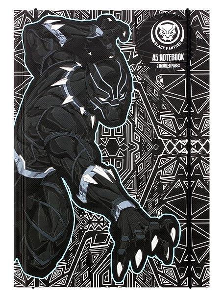 Nero e Grigio 22.8 x 16 x 2.4 cm Combinazione Marvel Comics Notebook A5 Panther Half Moon