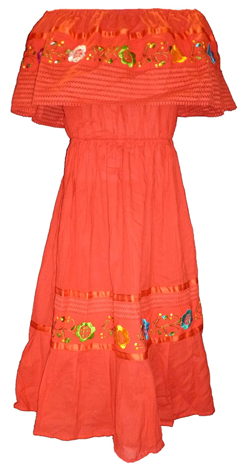 Women's Red Mexican Puebla Crochet Off-Shoulder Dress (Medium - XL) - DeluxeAdultCostumes.com