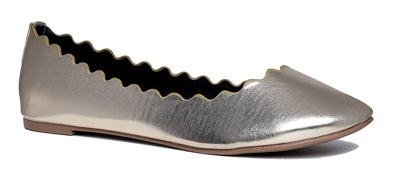 J. Adams Cute Scalloped Ballet Flat - Classic Slip on Flat - Comfortable Closed Toe Shoes - Janie by B01MF66036 8 B(M) US|Light Gold Pu