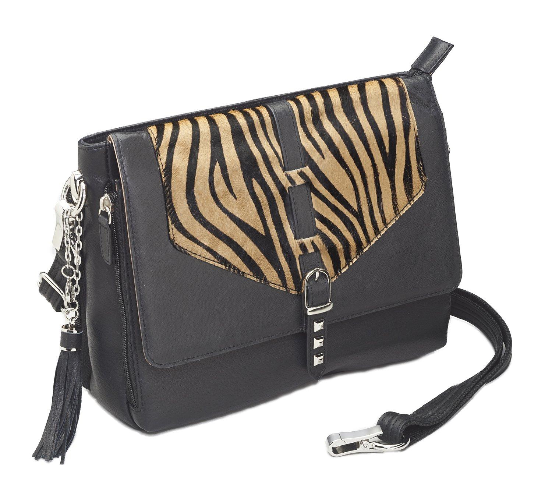 Gun Tote'n Mama Zebra Hair Shoulder Bag Black