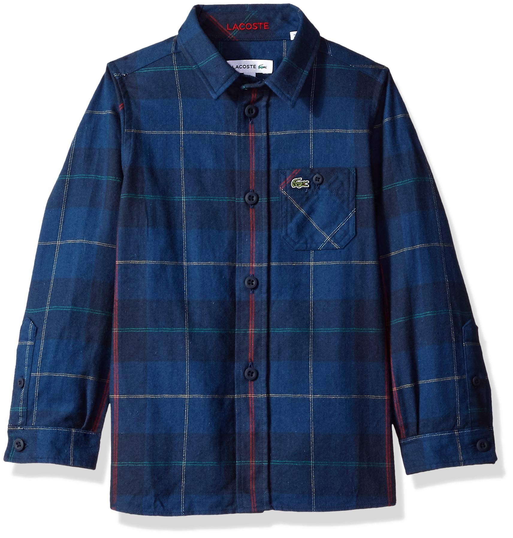 Lacoste Little Boy Flannel Checked Shirt, Multi, 5