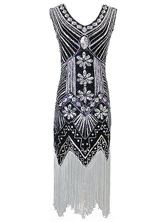 1508586b5b87 Vijiv Women 1920s Gastby Sequin Art Nouveau Embellished Fringed Flapper  Dress: Amazon.co.uk: Clothing