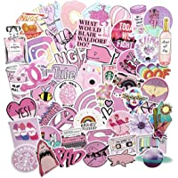 53pcs Water Bottles Stickers Lovely Waterproof Aesthetic Trendy Summer Stickers for Teens Girls Perfect for Waterbottle Laptop Phone Travel (Pink 53)