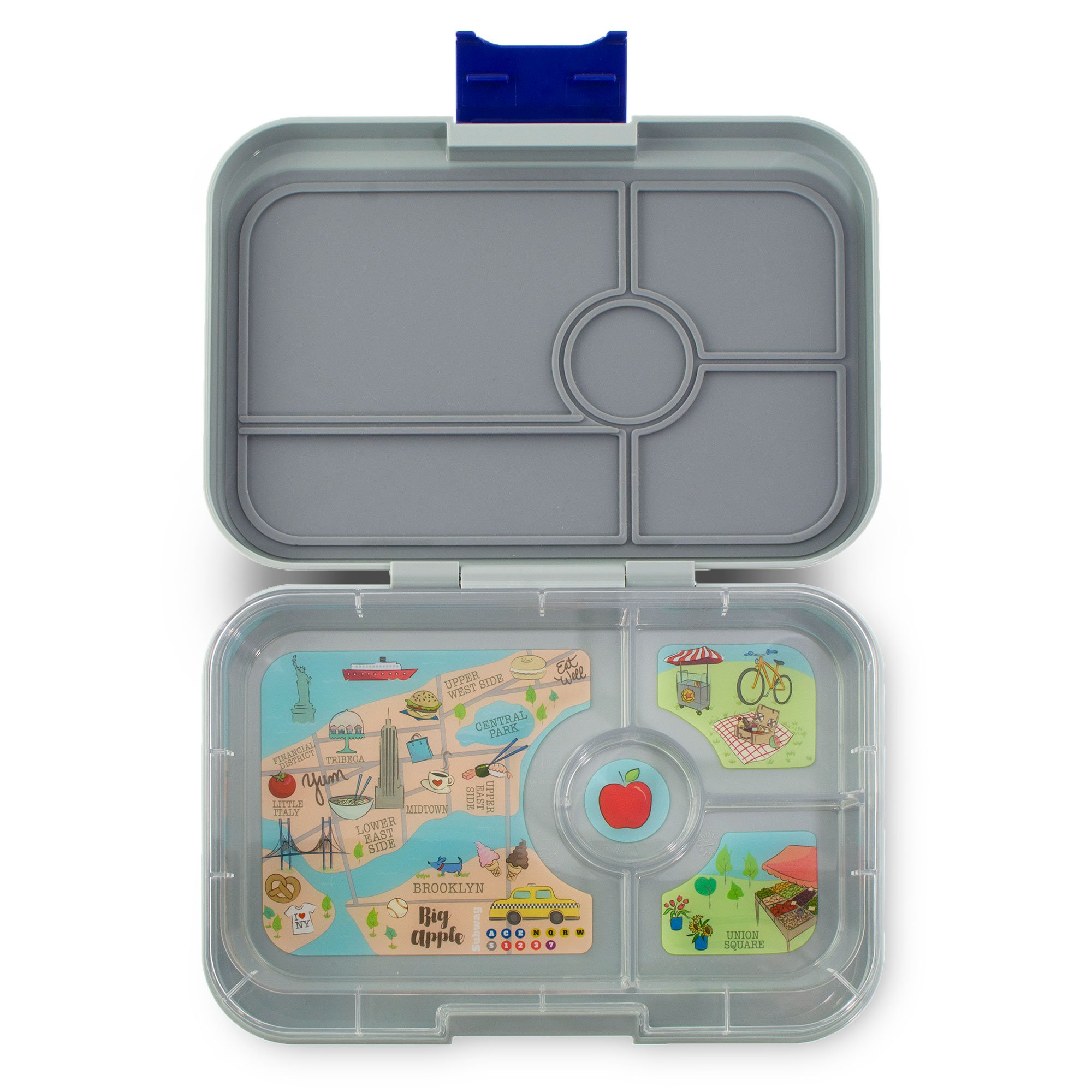 YUMBOX TAPAS Larger Size (Flat Iron Gray) Leakproof Bento lunch box with 4 compartment NYC illustrated removable food tray for Adults, Teens & Pre-teens