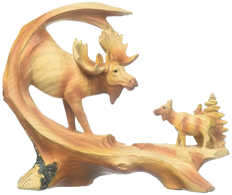 6.75 Moose Scene Carving Faux Wood Decorative Figurine StealStreet MME-972 Ss-Ug-Mme-972 Brown 6.75 Moose Scene Carving Faux Wood Decorative Figurine GSC