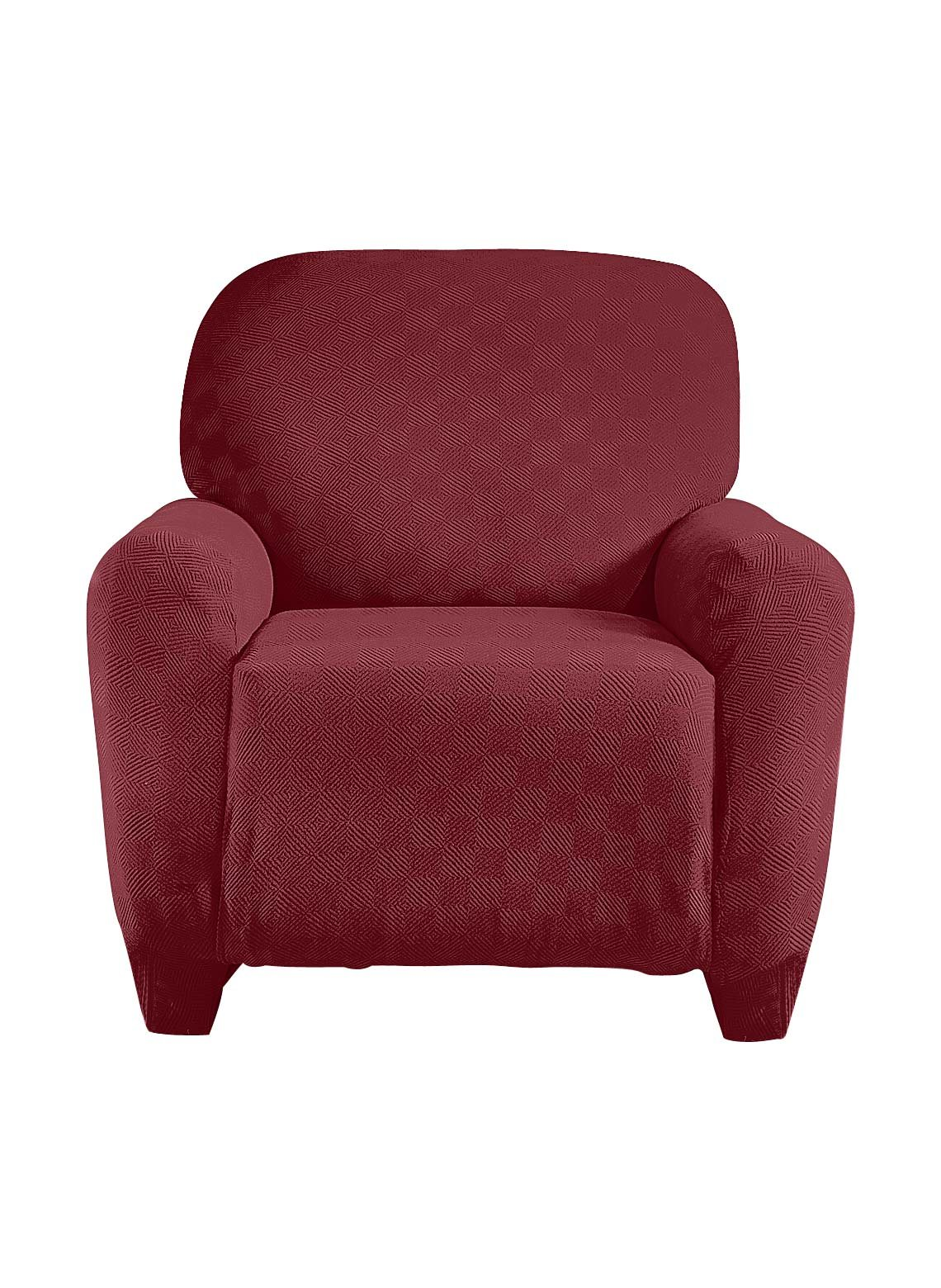 Madison Check-LGRECL-BU Checkerboard Large Recliner Slipcover, Larger Recliner, Burgundy
