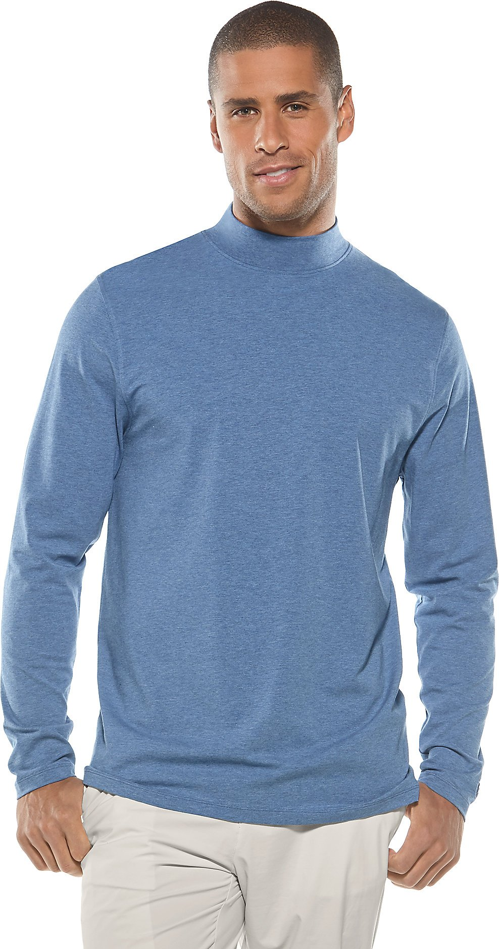 Coolibar UPF 50+ Men's Mulford Mock Neck Tee - Sun Protective (Small- Pacific Heather)
