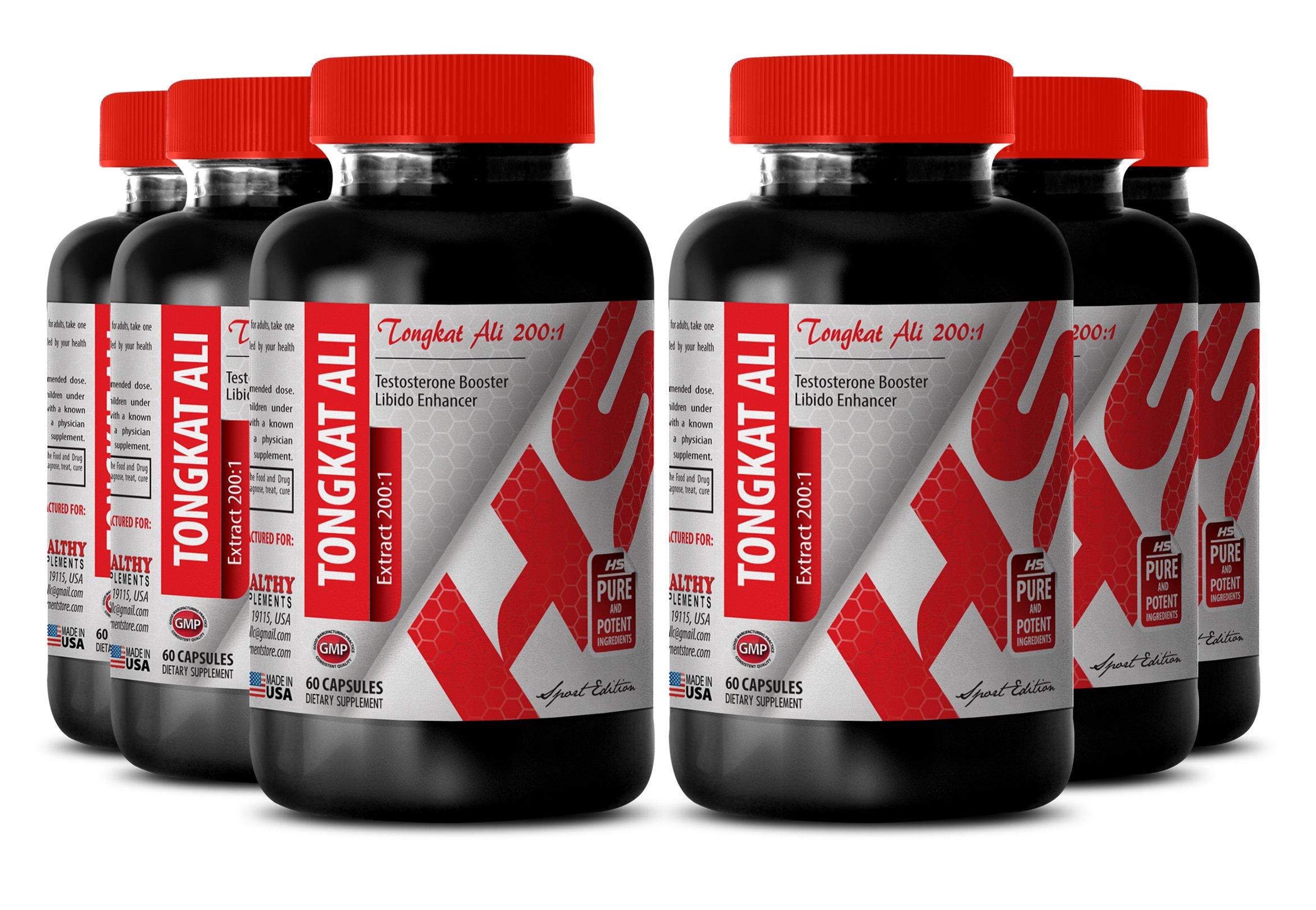 Tongkat ali organic powder - LONGJACK TONGKAT ALI EXTRACT 200 : 1 400 MG - improve sexual performance (6 Bottles)