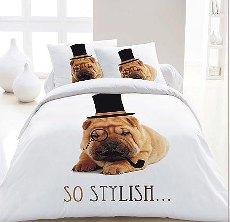Maria cama & lino – 3d perro carlino Animal Print Funda de edredón set juego de