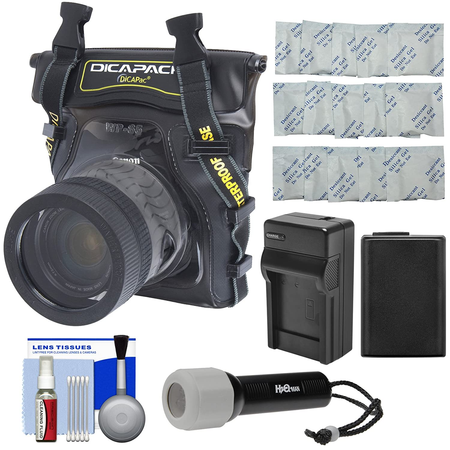 DiCAPac WP-S5 Waterproof Case for Compact DSLR Cameras with NP-FW50 Battery & Charger + LED Torch + Accessory Kit for Sony Alpha A7, A7R, A7S II