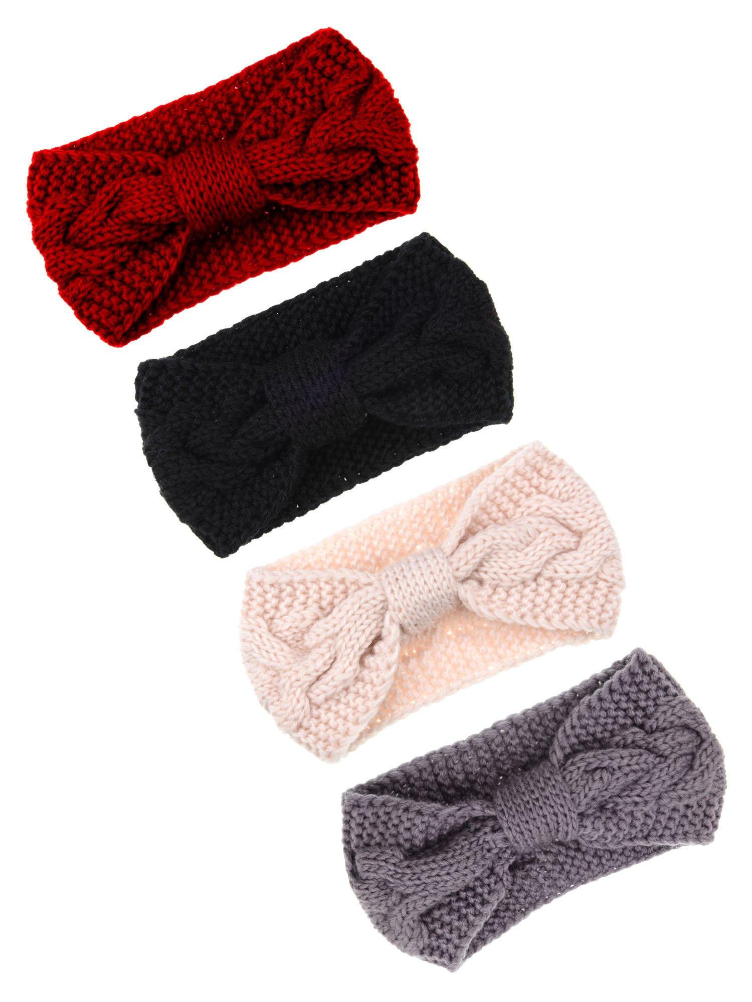 Pangda 4 Pieces Cable Knit Headband Crochet Headbands Plain Braided Head Wrap Winter Ear Warmer for Women Girls, 4 Colors (Multicoloured A)