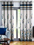 Story@Home Berry Blackout Combo Set of 2 Piece Jacquard Door Curtains for Living Room and Bed Room Contemporary Pattern - 7 Feet Long - Blue