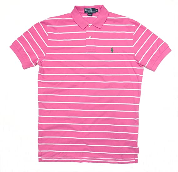 82b26be7ef Polo by Ralph Lauren Men's Short Sleeve Shirt Pink with White Stripes  (Small)