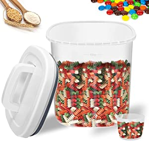 Rice Container Storage - 20LB Airtight Dry Food Rice Cereal Container Storage BPA Free Plastic Rice Dispenser with Measuring Cup Pour Spout for Rice Cereal Beans Flour Sugar Pasta