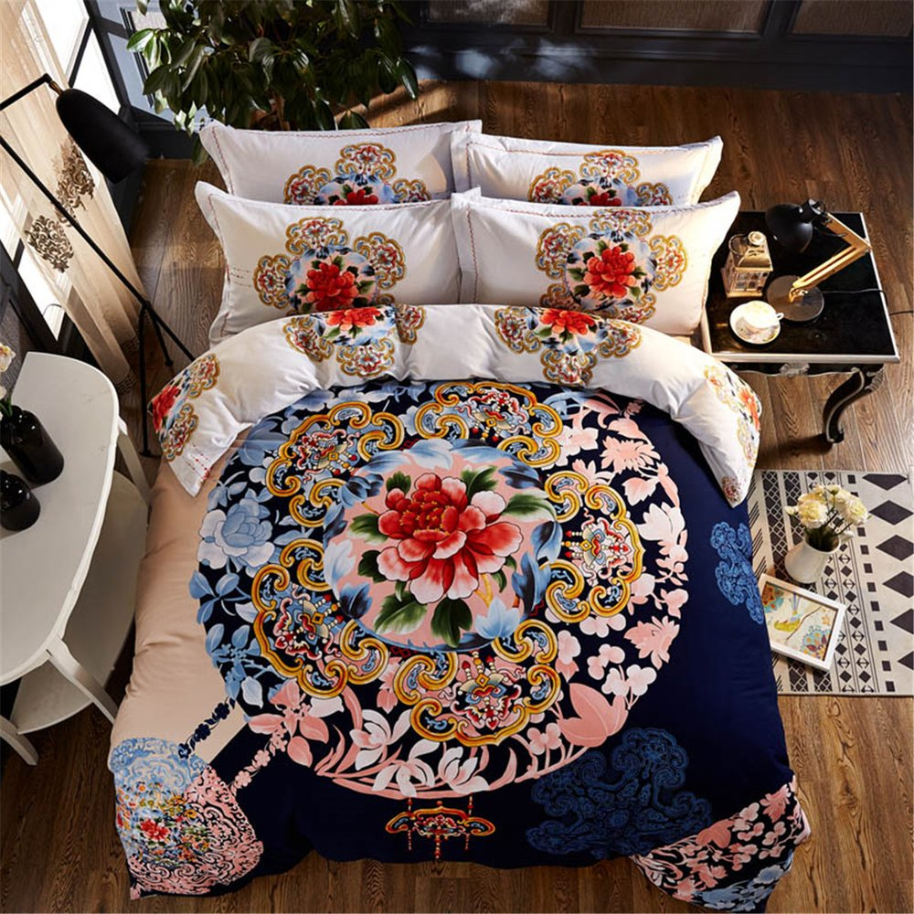 800T Brushed Cotton Duvet Cover Set Without Comforter 4pcs Floral Ethnic Stylefull^^^blue with flower 2^^^blue