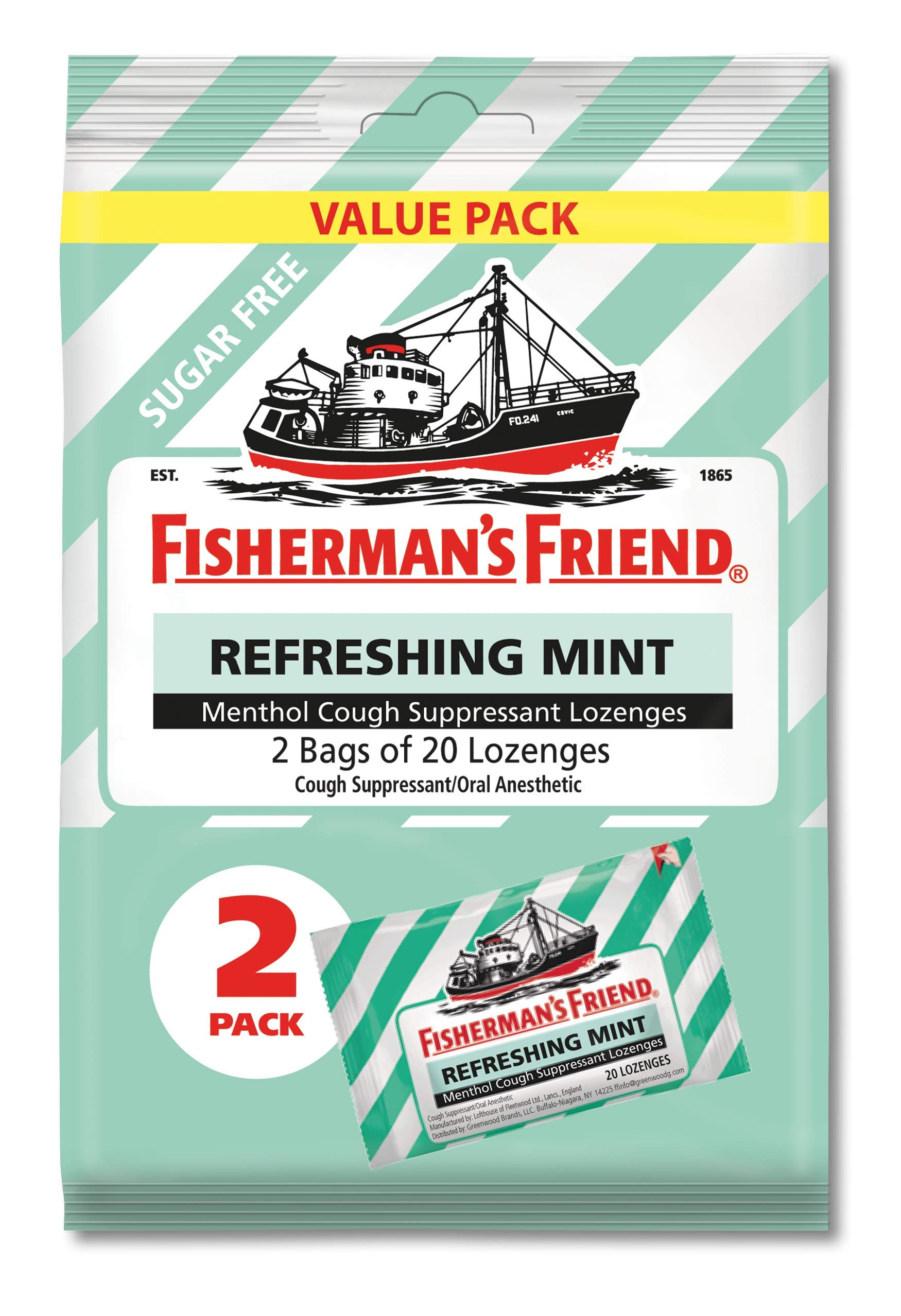 Fisherman's Friend Sugar Free Mint Cough Suppressant Lozenges, 40-Count Bags (Pack of 12)