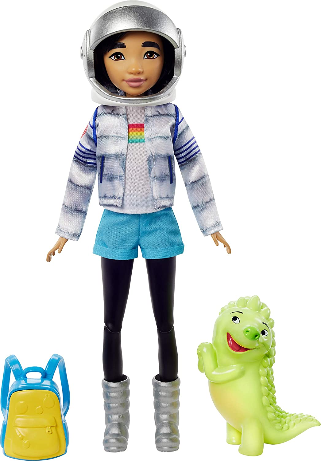 Netflix's Over The Moon, Fei Fei Doll (9-inch) in Space Explorer Outfit, Includes Glow-in-Dark Gobi Figure (3-inch), Removable Outfit with Cool Pieces Like Moon Boots, Jacket and Astronaut Helmet
