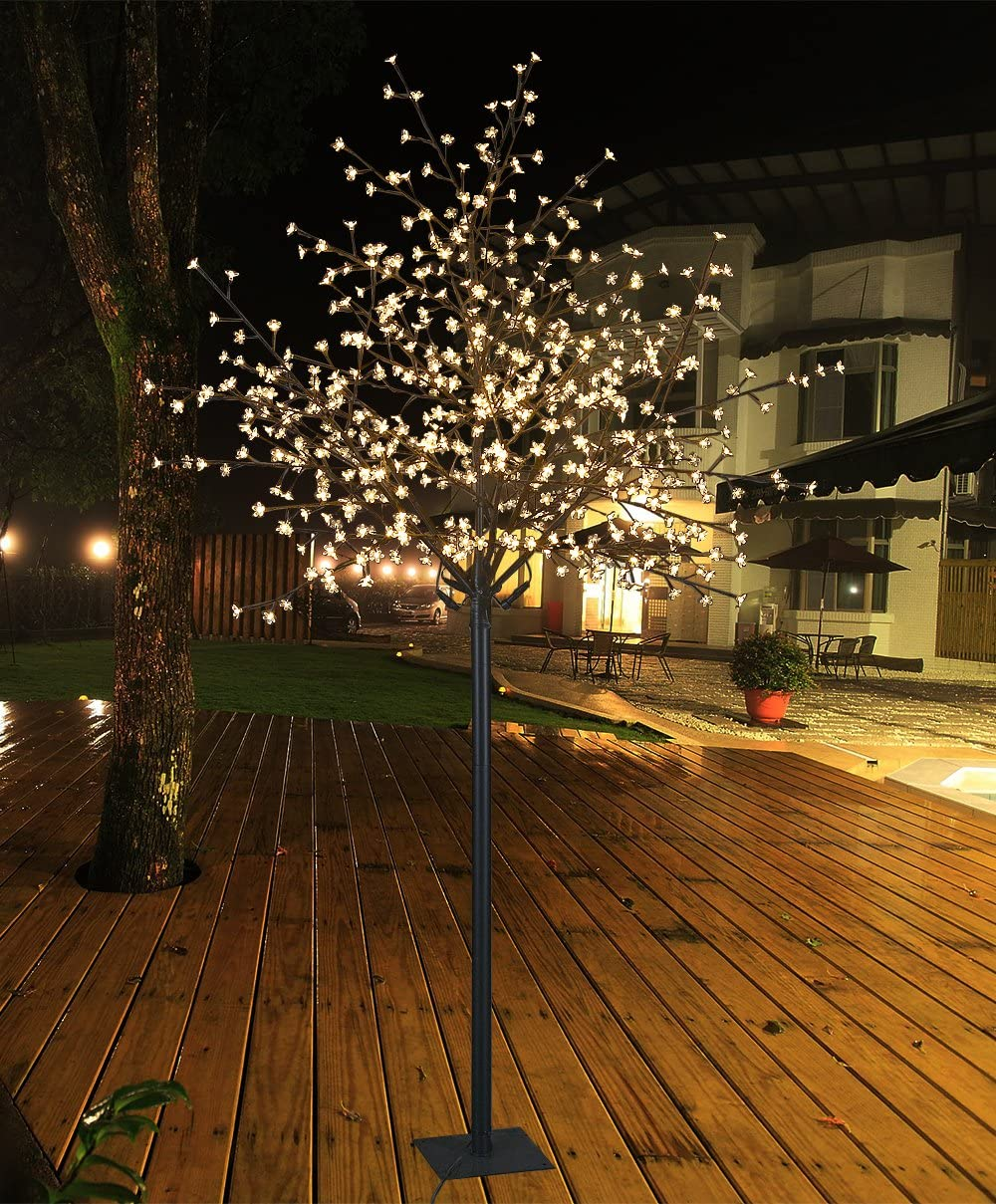 Lightshare 8Ft 600L LED Cherry Blossom City Tree, Home Garden City Decoration,Wedding,Birthday,Christmas,Festival,Party Indoor and Outdoor Use,Warm White