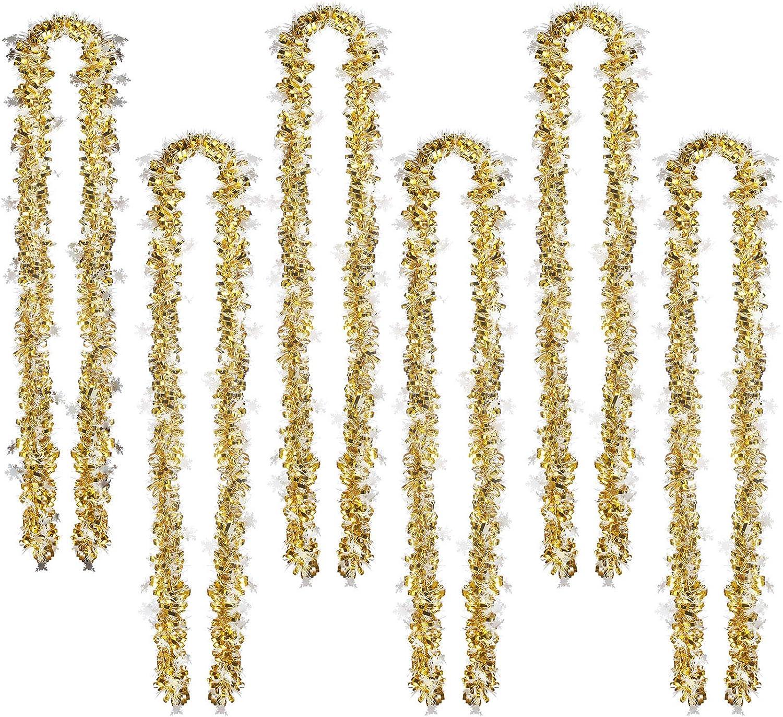 Gold WILLBOND 50 Fu/ß Lametta Girlande Metallisch Lametta Drehung Girlande Weihnachtsbaum Dekoration Neujahr Hochzeit Geburtstag H/ängende Dekoration Party Lieferung 3 Zoll