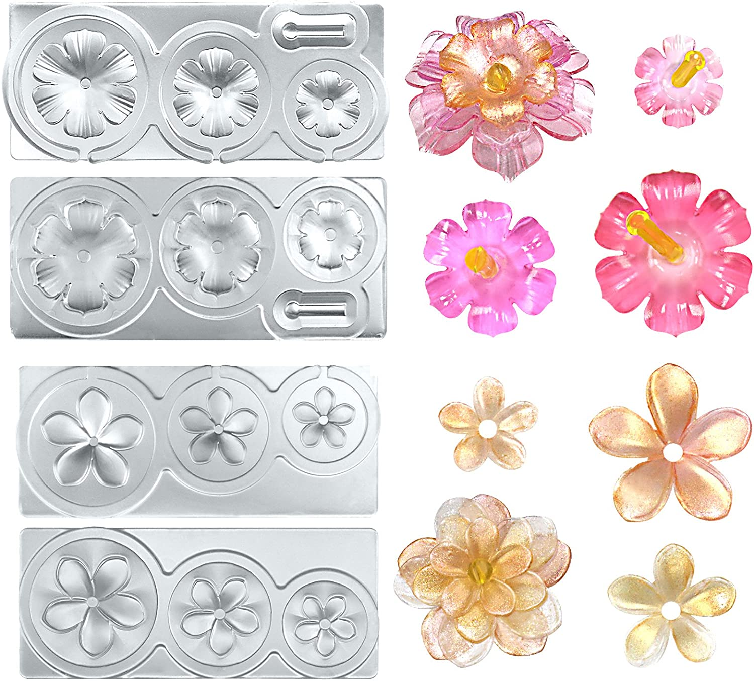 Tiny flowers mini mold mm007 about 12 wide each Resin plumeria silicone mold Fondant or gumpaste mold for cakes or cupcake toppers