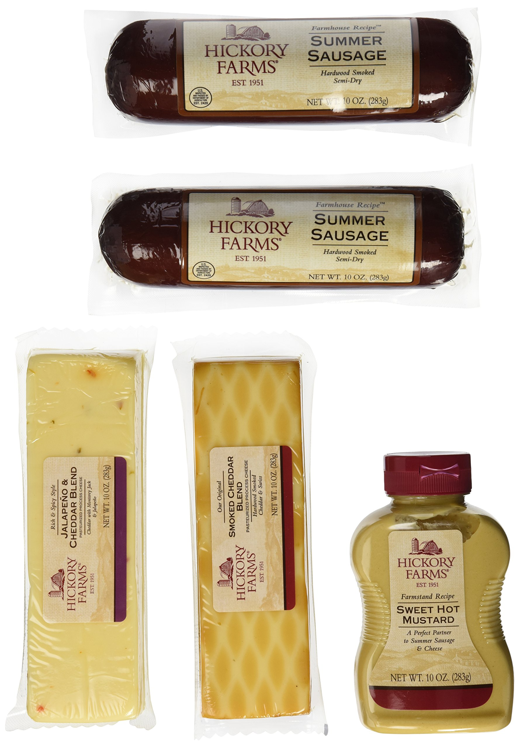 Hickory Farms Smoked Sausage and Cheese Bundle of 5 Items, Summer Sausage Salami, Smoked Cheddar, Jalapeno Cheese, Sweet Hot Mustard. Over 3 Pounds of Snacking